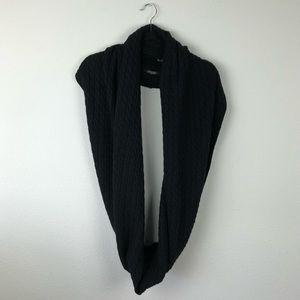 ALL SAINTS Mini Cable Knit Blanket Black Scarf